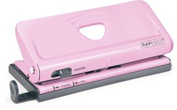 Rapesco metalen 6-gaatsperforator voor organizers, capaciteit: 10 vel, roze