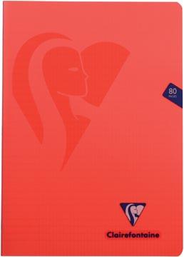 Clairefontaine schrift mimesys voor ft A4, 80 bladzijden, kaft in PP, geruit 4 x 8, geassorteerde kleuren