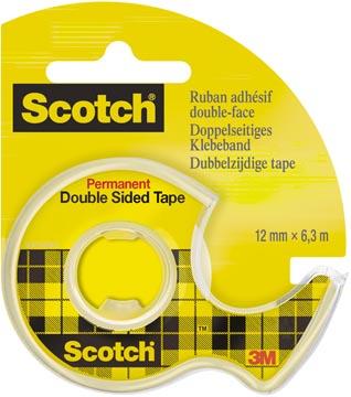 Scotch dubbelzijdige plakband ft 12 mm x 6,3 m + afroller