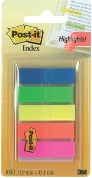 Post-it Notes Index Translucent, ft 12 x 43 mm, geassorteerde kleuren, 20 tabs per kleur