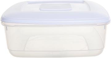 Whitefurze vershouddoos vierkant 7 liter, transparant met wit deksel