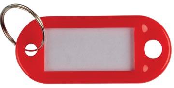 Q-Connect sleutelhanger, pak van 10 stuks, rood