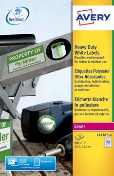 Avery L4778-20 ultra-sterke etiketten ft 45,7 x 21,2 mm (b x h), 960 etiketten, wit
