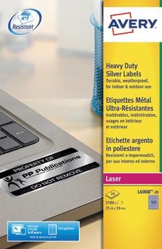 Avery ultra-sterke zilverkleurige etiketten ft 24,5 x 10 mm (b x h), 3.780 stuks, 189 per blad