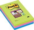 Post-it Super Sticky notes, ft 102 x 152 mm, 90 vel, pak van 3 blokken in geassorteerde kleuren